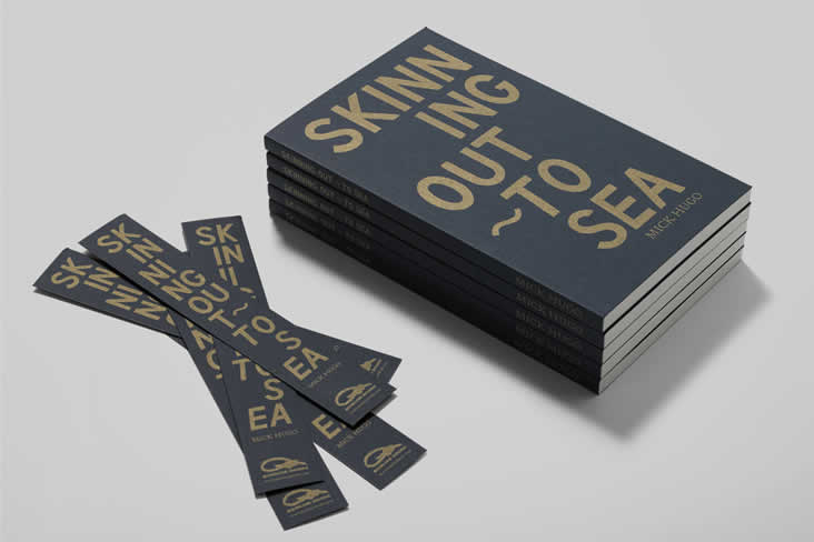 Skinning Out – To Sea, Mick Hugo, Colorplan Imperial Blue, Buckram texture, Pantone 872 Gold